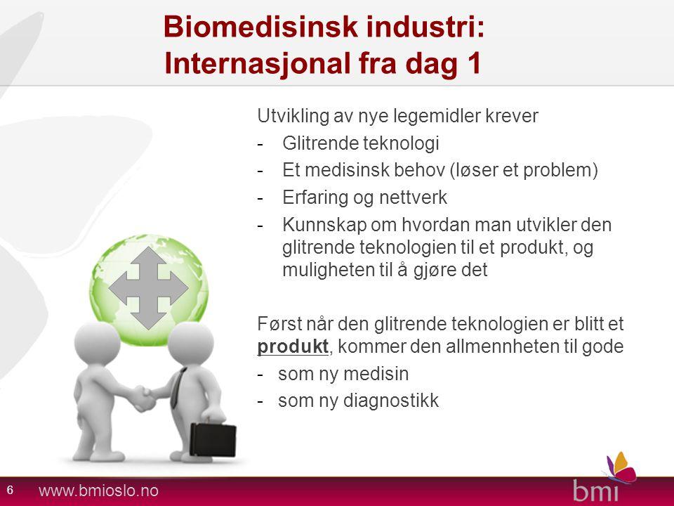 www.bmioslo.no Biomedisinsk industri: Internasjonal fra dag 1 Utvikling av nye legemidler krever -Glitrende teknologi -Et medisinsk behov (løser et pr
