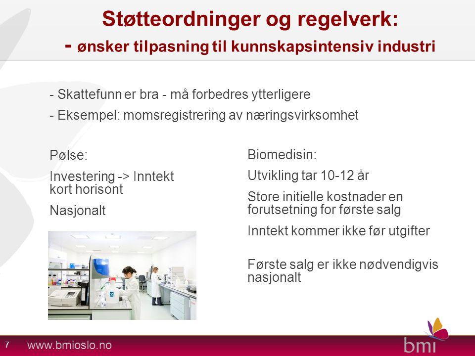 www.bmioslo.no Støtteordninger og regelverk: - ønsker tilpasning til kunnskapsintensiv industri - Skattefunn er bra - må forbedres ytterligere - Eksem