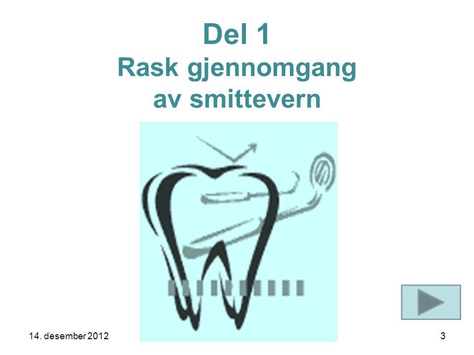 Del 1 Rask gjennomgang av smittevern 14. desember 20123