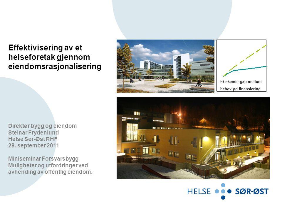 Effektivisering av et helseforetak gjennom eiendomsrasjonalisering Direktør bygg og eiendom Steinar Frydenlund Helse Sør-Øst RHF 28. september 2011 Mi