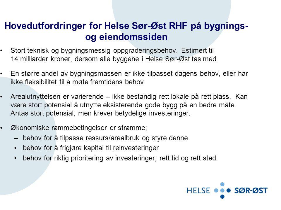 Hovedutfordringer for Helse Sør-Øst RHF på bygnings- og eiendomssiden •Stort teknisk og bygningsmessig oppgraderingsbehov. Estimert til 14 milliarder