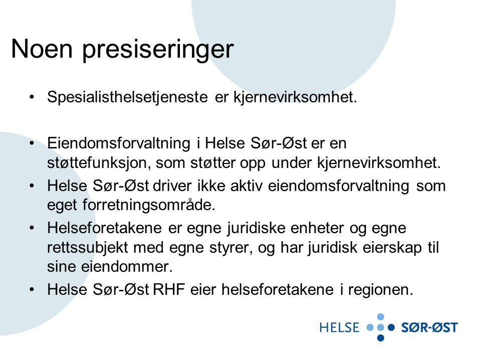 Noen presiseringer •Spesialisthelsetjeneste er kjernevirksomhet. •Eiendomsforvaltning i Helse Sør-Øst er en støttefunksjon, som støtter opp under kjer