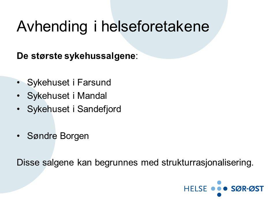 Avhending i helseforetakene De største sykehussalgene: •Sykehuset i Farsund •Sykehuset i Mandal •Sykehuset i Sandefjord •Søndre Borgen Disse salgene k