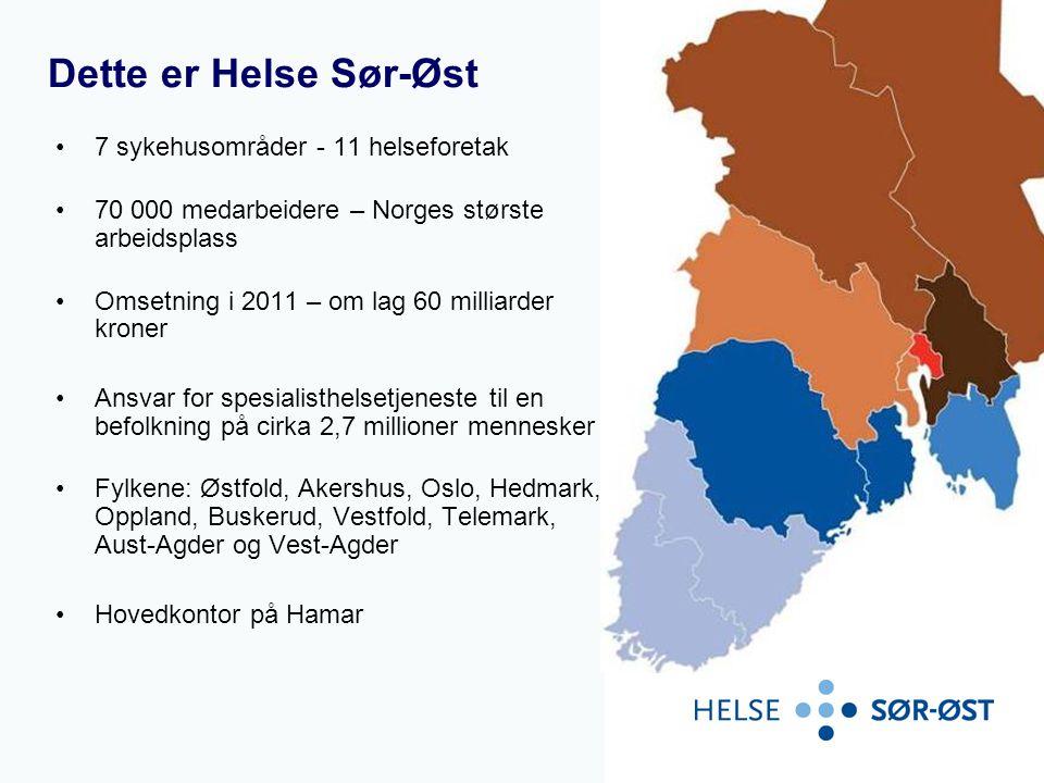 Dette er Helse Sør-Øst •7 sykehusområder - 11 helseforetak •70 000 medarbeidere – Norges største arbeidsplass •Omsetning i 2011 – om lag 60 milliarder