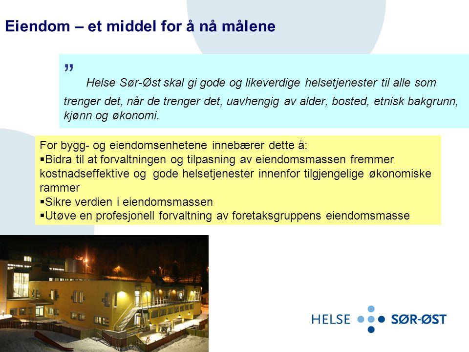  7 prosent av bygningsmassen er dårlig og har et akutt vedlikeholdsbehov (tilstandsgrad 3)  37 prosent av bygningsmassen har et omfattende vedlikeholdsbehov på noe sikt (tilstandsgrad 2)  Byggene i Fredrikstad, Drammen og Ullevål (Kirkeveien) + Sinsen i Oslo utgjør hovedandelen av bygningsmassen med dårlig tilstand, når de store institusjonene for psykisk helsevern holdes utenfor.