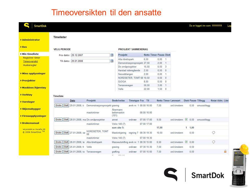 Full oversikt over forbruk av timer på prosjekt! DU bestemmer detaljnivå!