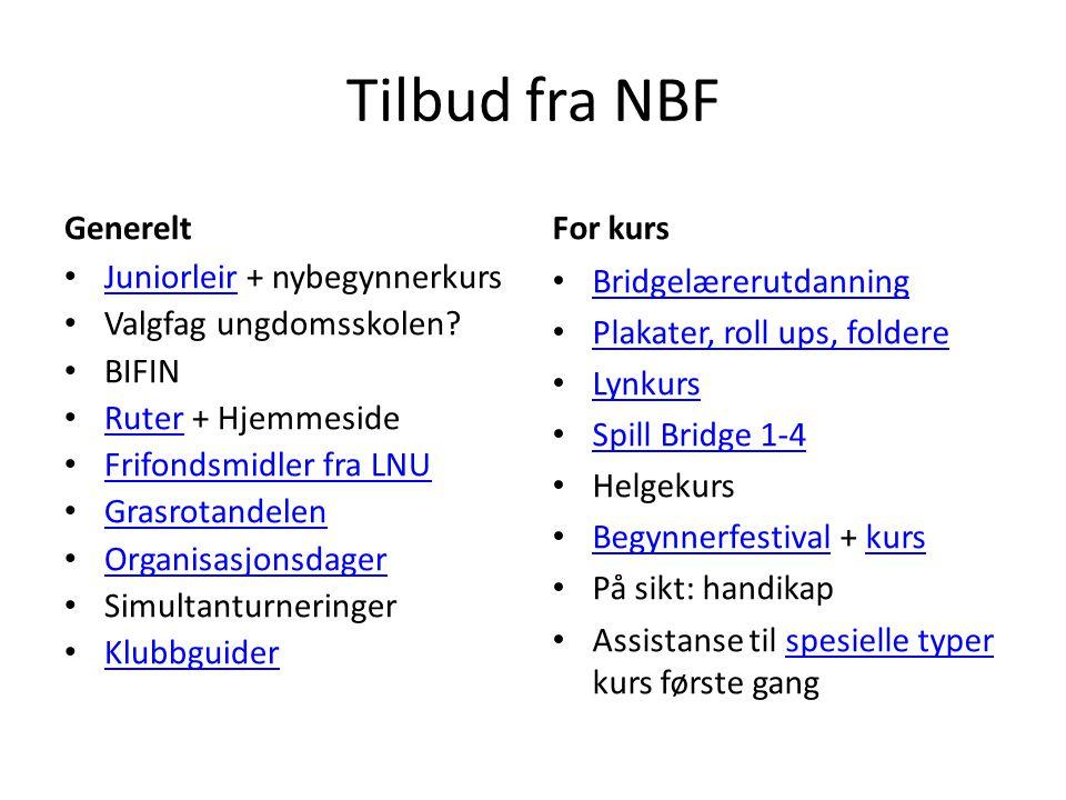 Tilbud fra NBF Generelt • Juniorleir + nybegynnerkurs Juniorleir • Valgfag ungdomsskolen.