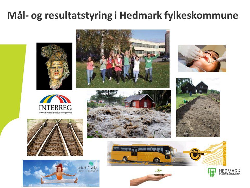 • Forankring av mål- og resultatstyring i Hedmark fylkeskommune • Hvordan måle kultur • Gjennomførte og planlagte endringer for å legge til rette for bedre styring Innhold