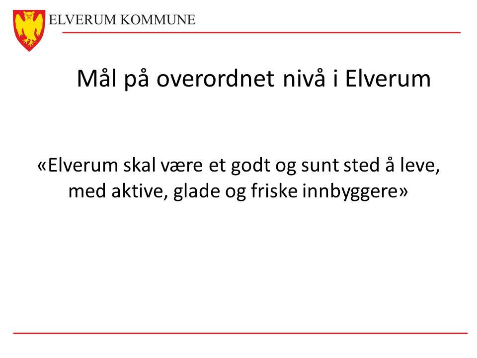 Mål på overordnet nivå i Elverum «Elverum skal være et godt og sunt sted å leve, med aktive, glade og friske innbyggere»