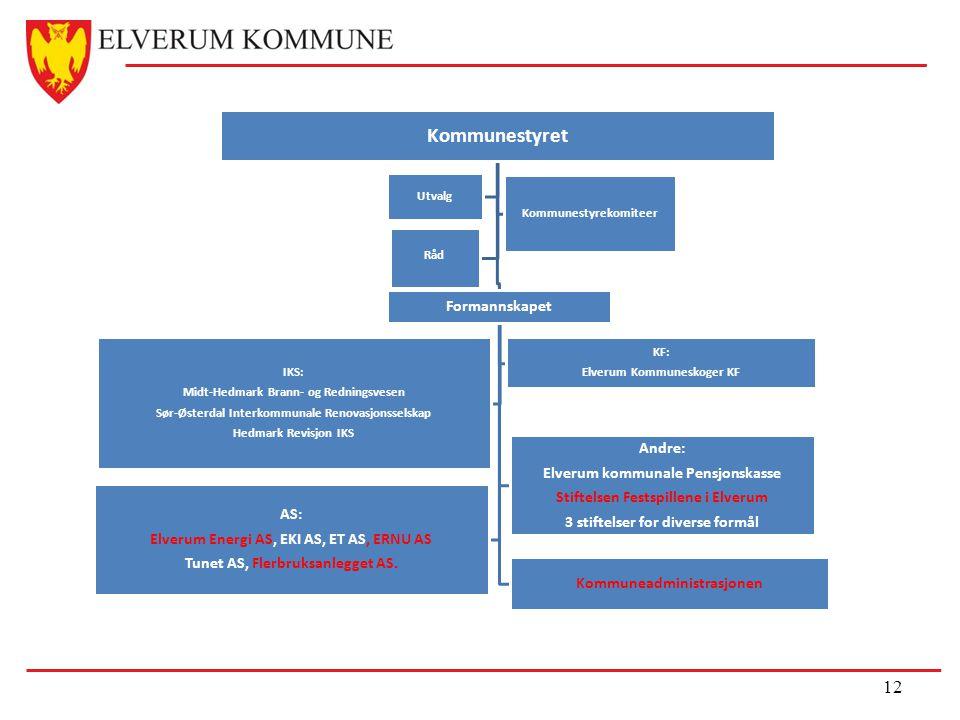 12 Kommunestyret Formannskapet Kommuneadministrasjonen IKS: Midt-Hedmark Brann- og Redningsvesen Sør-Østerdal Interkommunale Renovasjonsselskap Hedmar