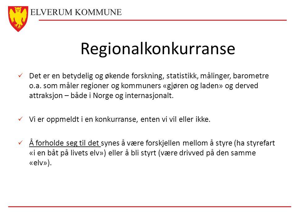 Regionalkonkurranse  Det er en betydelig og økende forskning, statistikk, målinger, barometre o.a. som måler regioner og kommuners «gjøren og laden»