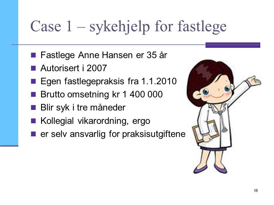 19 1.Autorisasjon 2.Brutto praksisinntekt 3.Basisgodtgjørelse 4.Driftsutgifter Hva får Anne fra SOP .