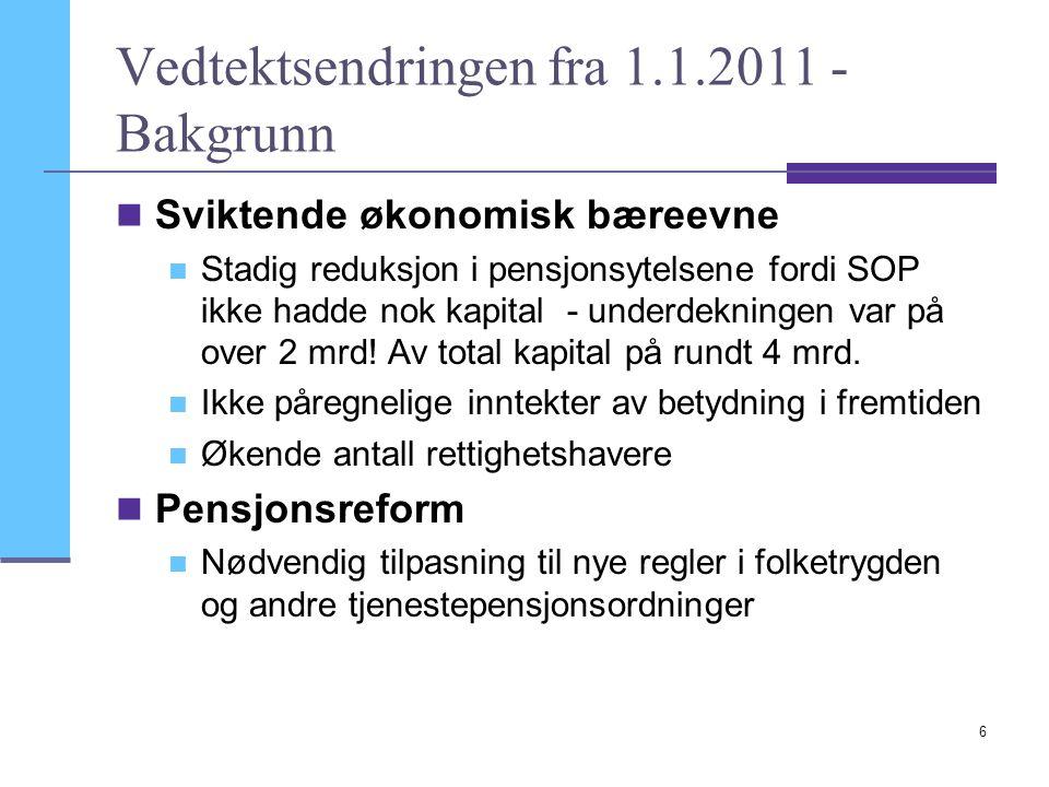 6 Vedtektsendringen fra 1.1.2011 - Bakgrunn  Sviktende økonomisk bæreevne  Stadig reduksjon i pensjonsytelsene fordi SOP ikke hadde nok kapital - un