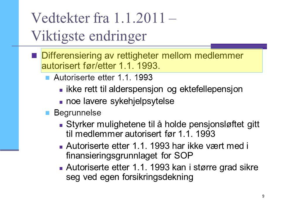 10 Ny modell for avbruddsytelsene  Reduserte satser for sykehjelp  Særlig for leger autorisert etter 1993,  Men også for øvrige leger  Andre beregningsmessige forutsetninger:  Lavere beregningsgrunnlag (eks.