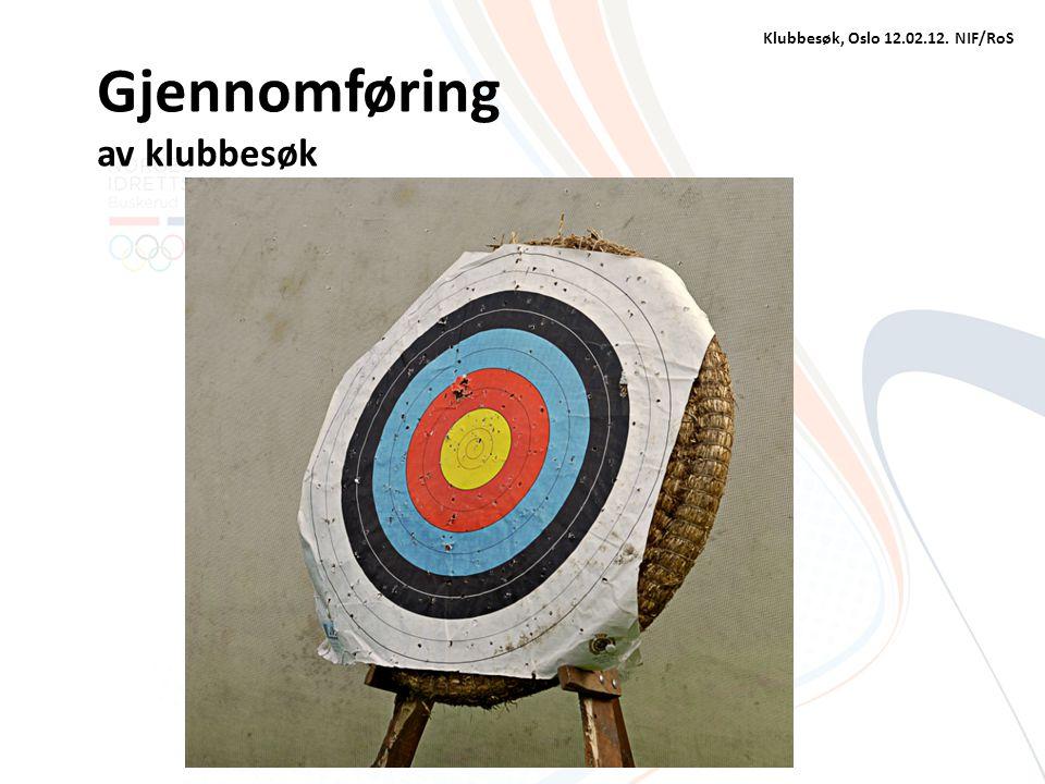 Gjennomføring av klubbesøk Klubbesøk, Oslo 12.02.12. NIF/RoS