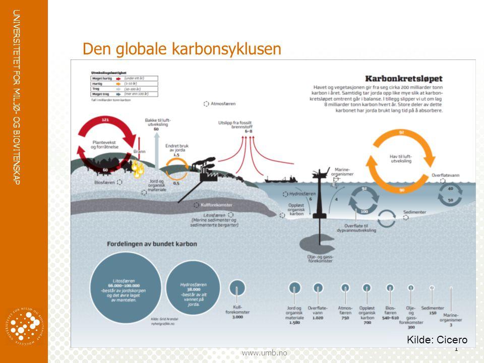 UNIVERSITETET FOR MILJØ- OG BIOVITENSKAP www.umb.no Den globale karbonsyklusen 1 Kilde: Cicero