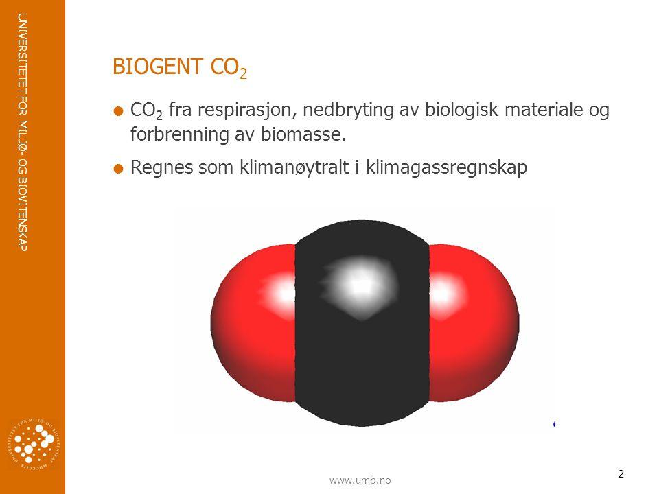 UNIVERSITETET FOR MILJØ- OG BIOVITENSKAP www.umb.no BIOGENT CO 2  CO 2 fra respirasjon, nedbryting av biologisk materiale og forbrenning av biomasse.