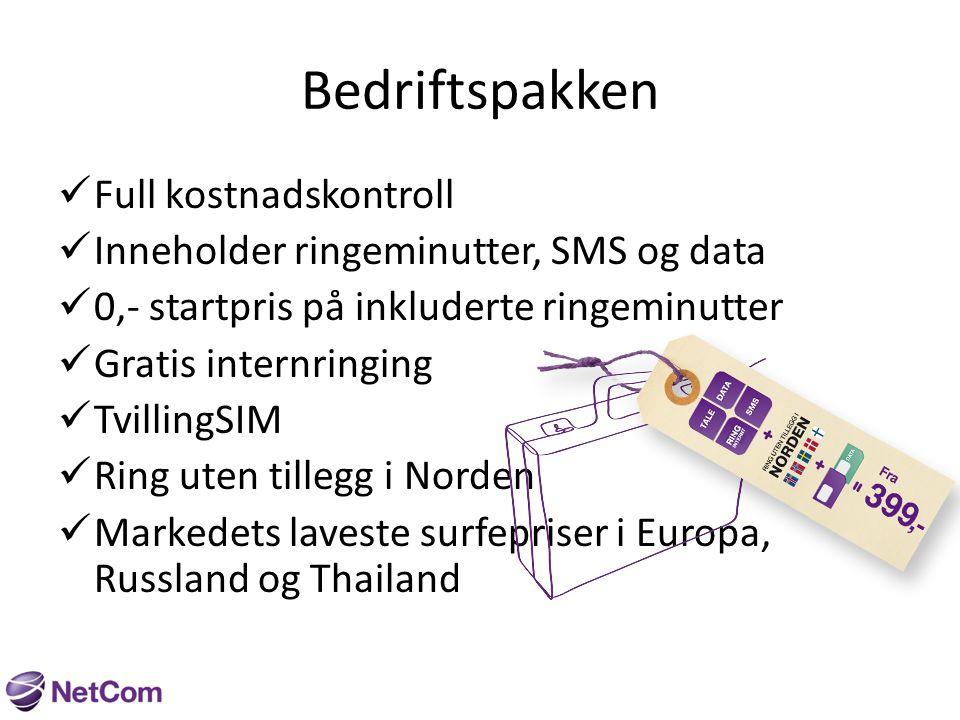 Bedriftspakken 500 Medium Inkludert hver måned: 500 ringeminutter 500 SMS 8GB Data Priser etter inkludert innhold Startpris0,49 Minuttpris0,49 SMS0,49 MMS1,59 Pris pr mndmed binding399,- Pris pr mnd uten binding449,- Pris pr mnd med telefon509,-