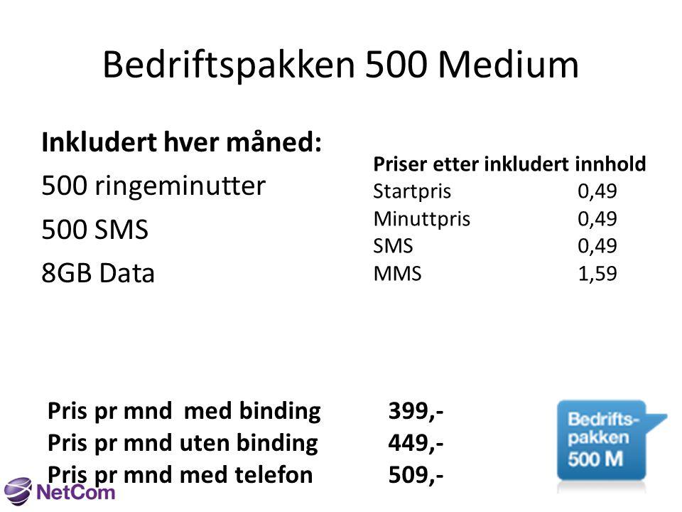 Bedriftspakken 500 Large Inkludert hver måned: 500 ringeminutter 500 SMS 15GB Data Priser etter inkludert innhold Startpris0,49 Minuttpris0,49 SMS0,49 MMS1,59 Pris pr mndmed binding449,- Pris pr mnd uten binding499,- Pris pr mnd med telefon559,-