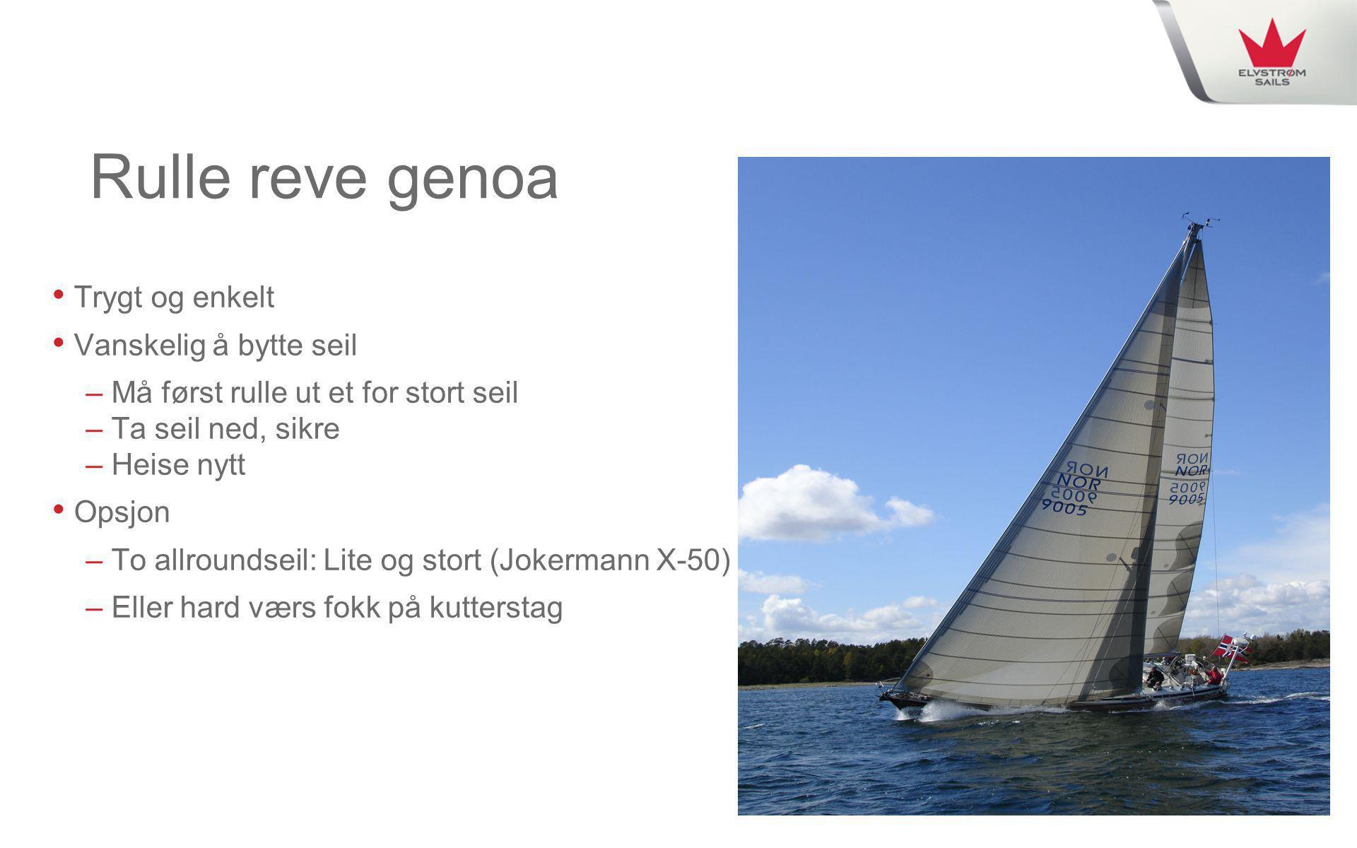 Rulle reve genoa • Trygt og enkelt • Vanskelig å bytte seil – Må først rulle ut et for stort seil – Ta seil ned, sikre – Heise nytt • Opsjon – To allr
