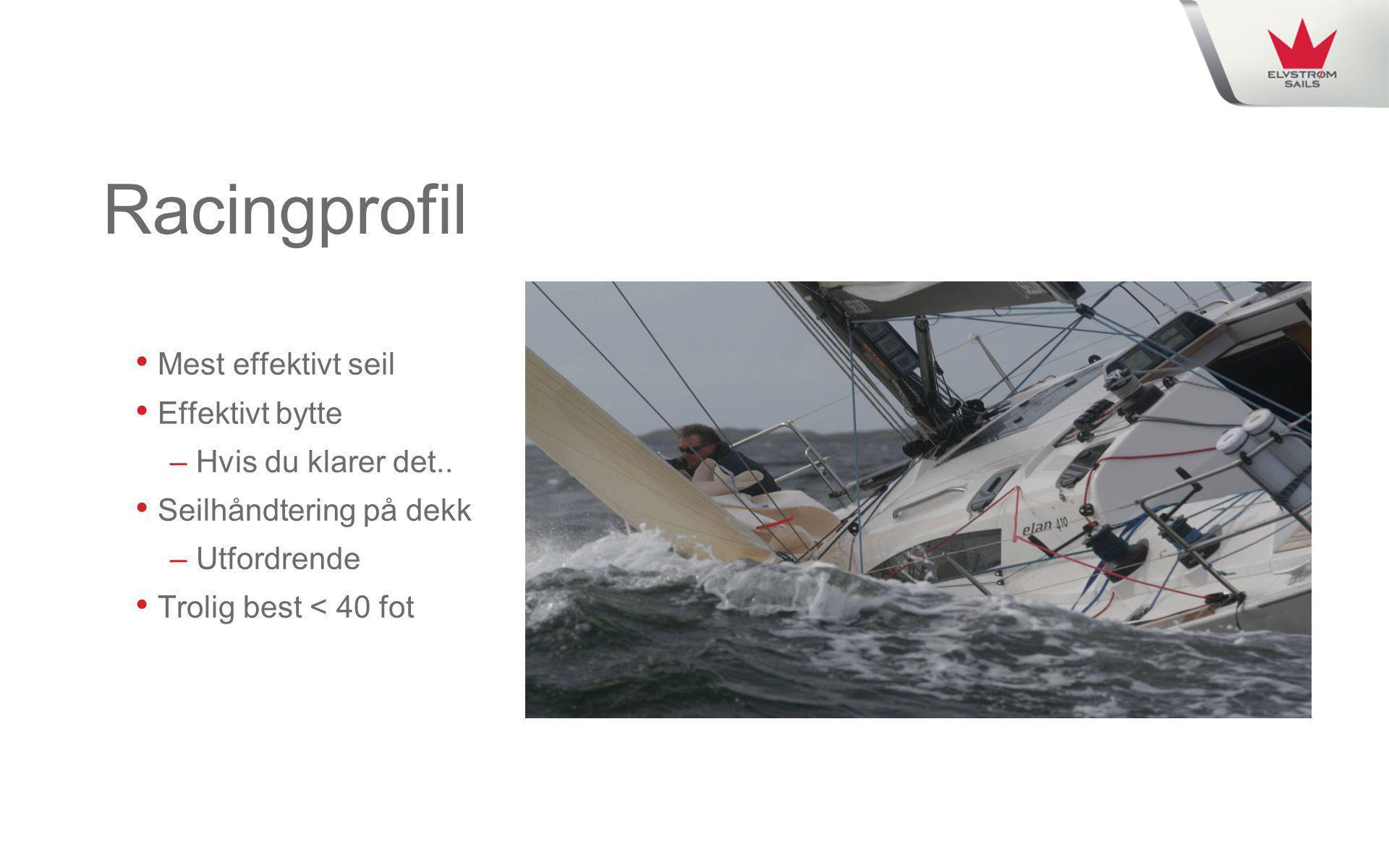 Racingprofil • Mest effektivt seil • Effektivt bytte – Hvis du klarer det.. • Seilhåndtering på dekk – Utfordrende • Trolig best < 40 fot