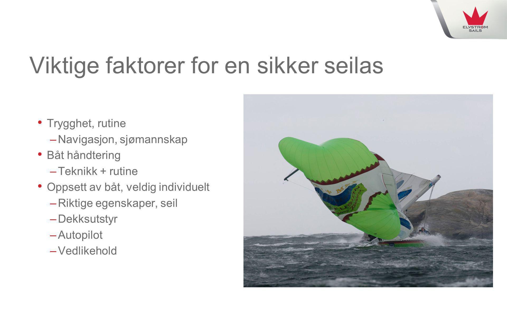 Viktige faktorer for en sikker seilas • Trygghet, rutine –Navigasjon, sjømannskap • Båt håndtering –Teknikk + rutine • Oppsett av båt, veldig individu