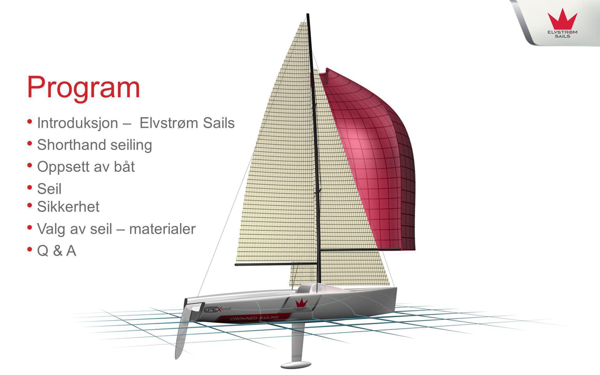 Program • Introduksjon – Elvstrøm Sails • Shorthand seiling • Oppsett av båt • Seil ikkerhet • Valg av seil – materialer • Q & A