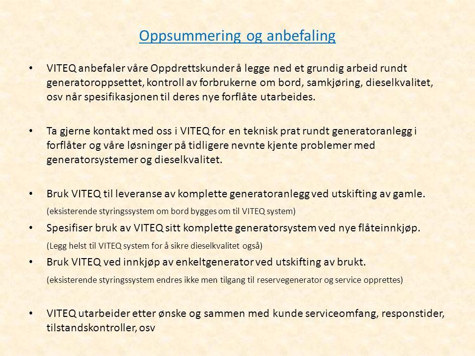 Oppsummering og anbefaling • VITEQ anbefaler våre Oppdrettskunder å legge ned et grundig arbeid rundt generatoroppsettet, kontroll av forbrukerne om b