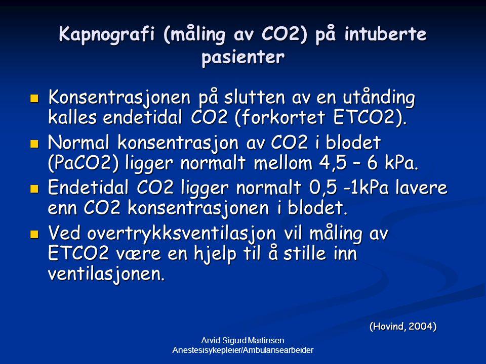 Arvid Sigurd Martinsen Anestesisykepleier/Ambulansearbeider Kapnografi (måling av CO2) på intuberte pasienter  Konsentrasjonen på slutten av en utånd