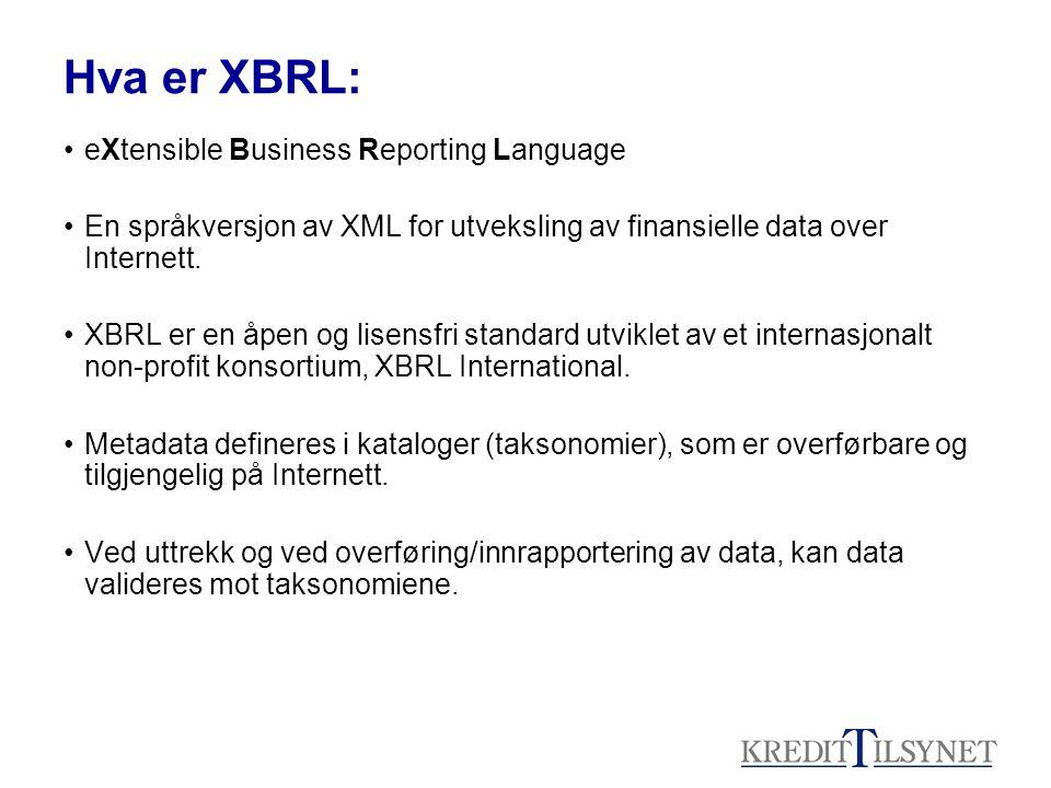 Hva er XBRL: •eXtensible Business Reporting Language •En språkversjon av XML for utveksling av finansielle data over Internett.