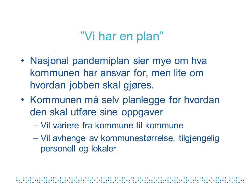 Vi har en plan •Nasjonal pandemiplan sier mye om hva kommunen har ansvar for, men lite om hvordan jobben skal gjøres.