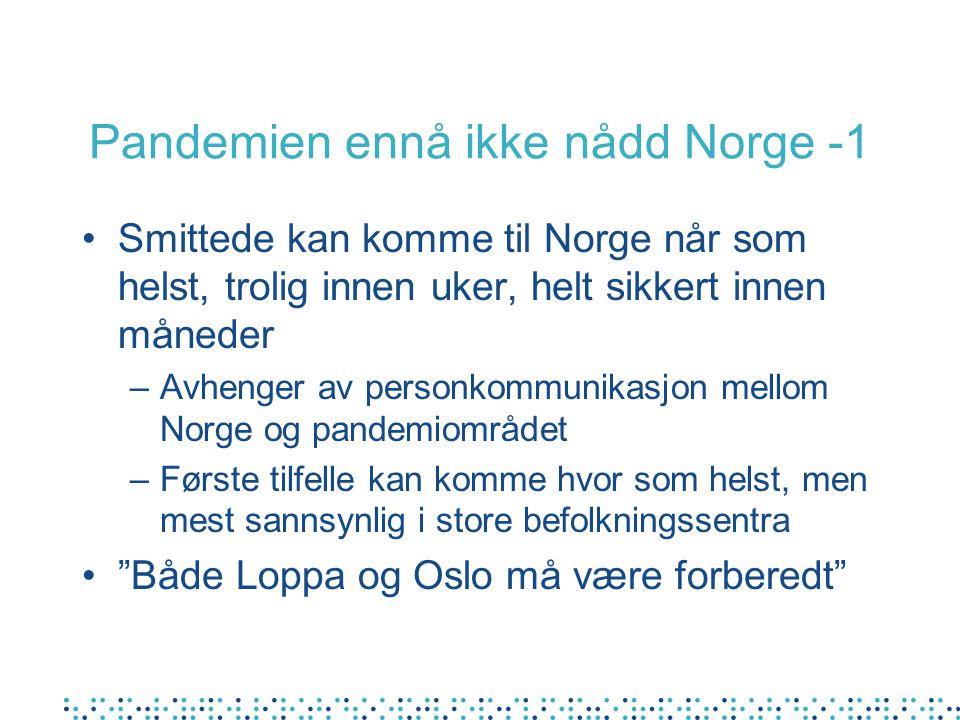 Pandemien ennå ikke nådd Norge -1 •Smittede kan komme til Norge når som helst, trolig innen uker, helt sikkert innen måneder –Avhenger av personkommunikasjon mellom Norge og pandemiområdet –Første tilfelle kan komme hvor som helst, men mest sannsynlig i store befolkningssentra • Både Loppa og Oslo må være forberedt