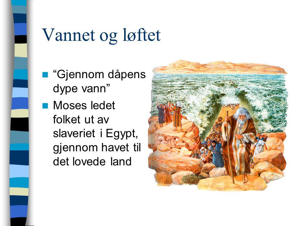 """Vannet og løftet  """"Gjennom dåpens dype vann""""  Moses ledet folket ut av slaveriet i Egypt, gjennom havet til det lovede land"""