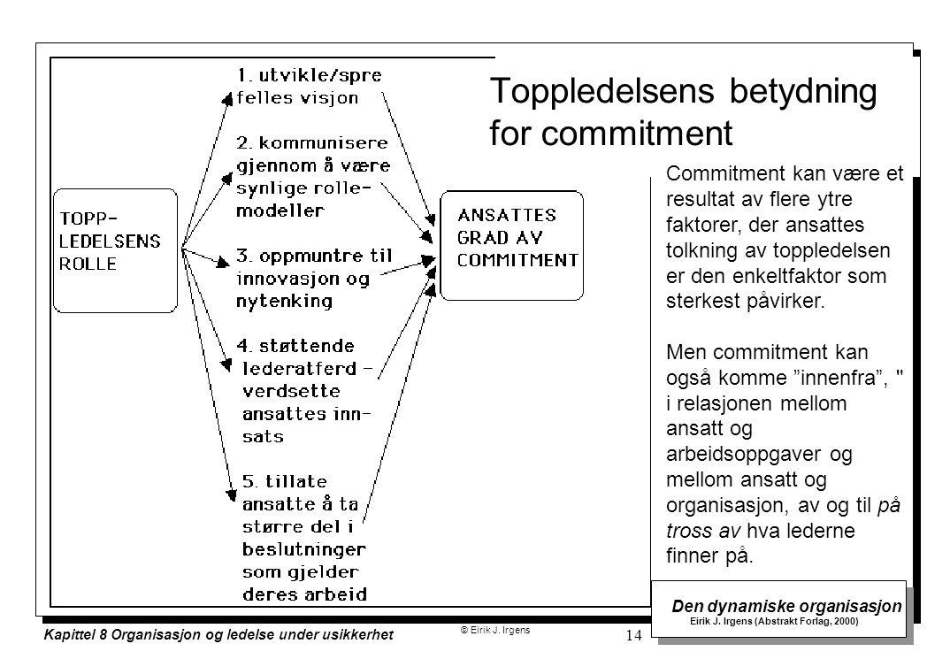 © Eirik J. Irgens Den dynamiske organisasjon Eirik J. Irgens (Abstrakt Forlag, 2000) Kapittel 8 Organisasjon og ledelse under usikkerhet 14 Toppledels