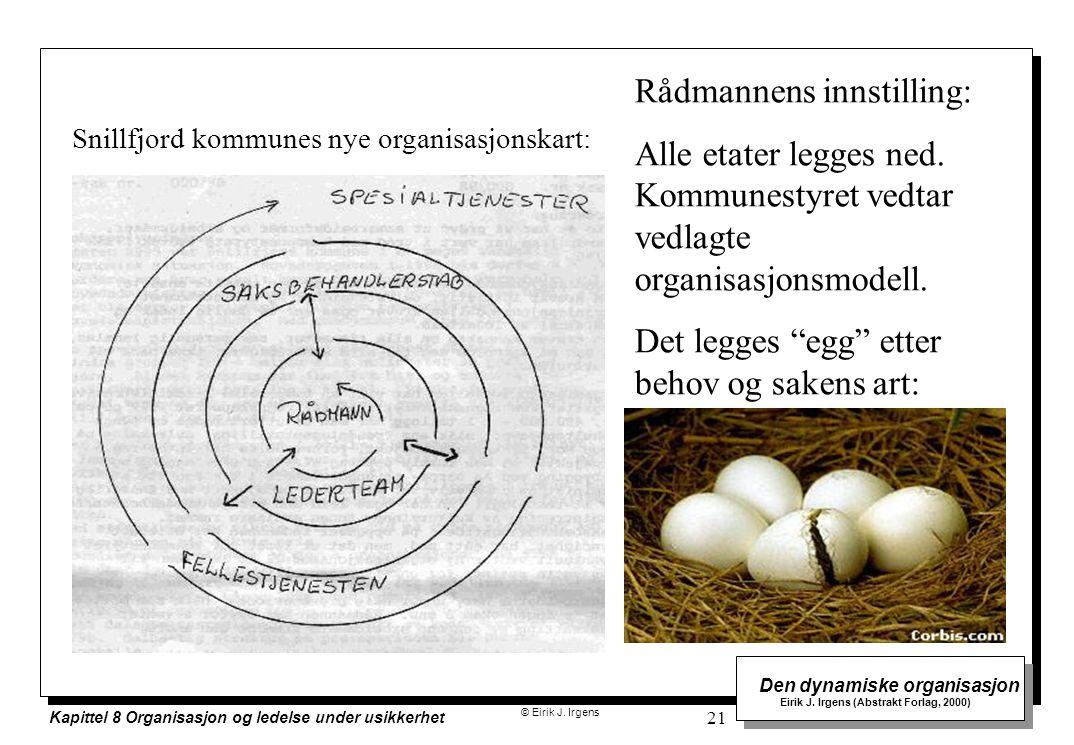 © Eirik J. Irgens Den dynamiske organisasjon Eirik J. Irgens (Abstrakt Forlag, 2000) Kapittel 8 Organisasjon og ledelse under usikkerhet 21 Rådmannens