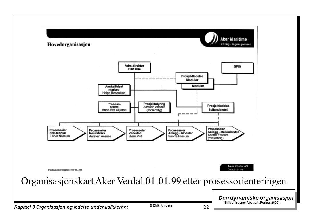 © Eirik J. Irgens Den dynamiske organisasjon Eirik J. Irgens (Abstrakt Forlag, 2000) Kapittel 8 Organisasjon og ledelse under usikkerhet 22 Organisasj
