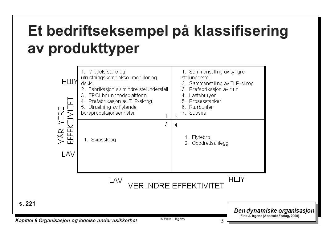 © Eirik J. Irgens Den dynamiske organisasjon Eirik J. Irgens (Abstrakt Forlag, 2000) Kapittel 8 Organisasjon og ledelse under usikkerhet 5 Et bedrifts