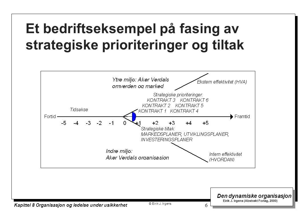 © Eirik J. Irgens Den dynamiske organisasjon Eirik J. Irgens (Abstrakt Forlag, 2000) Kapittel 8 Organisasjon og ledelse under usikkerhet 6 Et bedrifts