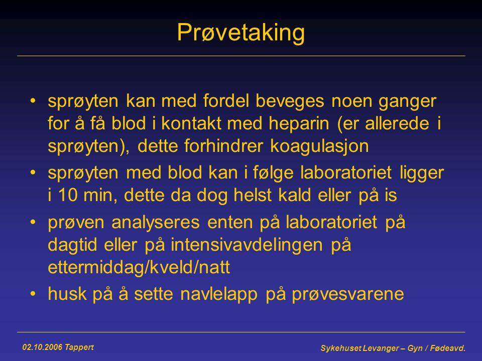 02.10.2006 Tappert Sykehuset Levanger – Gyn / Fødeavd.