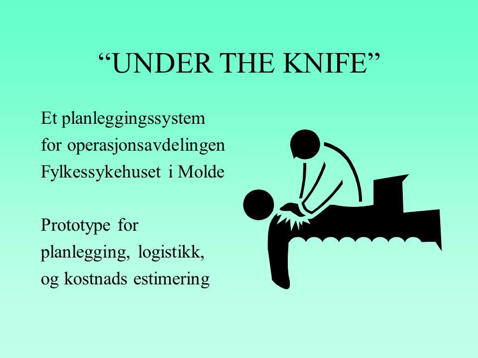 UNDER THE KNIFE Et planleggingssystem for operasjonsavdelingen Fylkessykehuset i Molde Prototype for planlegging, logistikk, og kostnads estimering