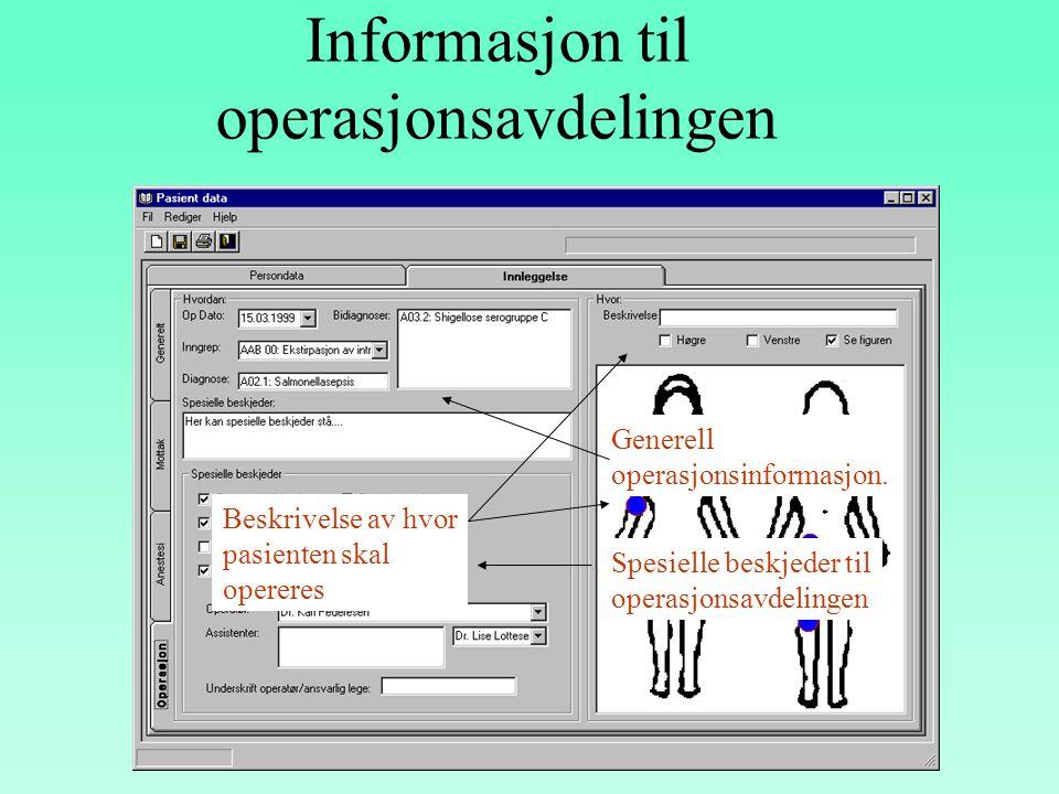 Informasjon om innleggelsen fra mottak Type innleggelse Generell info om pasienten Pasientens sykdommer Bilde av pasienten der en kan merke av hvor sk