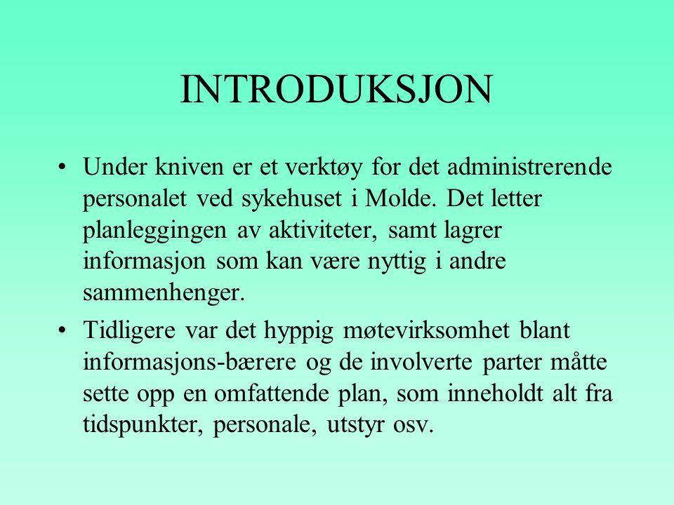 """""""UNDER THE KNIFE"""" Et planleggingssystem for operasjonsavdelingen Fylkessykehuset i Molde Prototype for planlegging, logistikk, og kostnads estimering"""