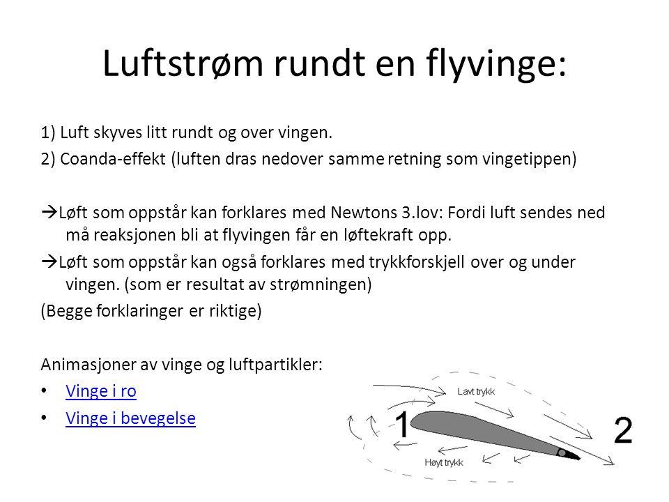 Luftstrøm rundt en flyvinge: 1) Luft skyves litt rundt og over vingen. 2) Coanda-effekt (luften dras nedover samme retning som vingetippen)  Løft som