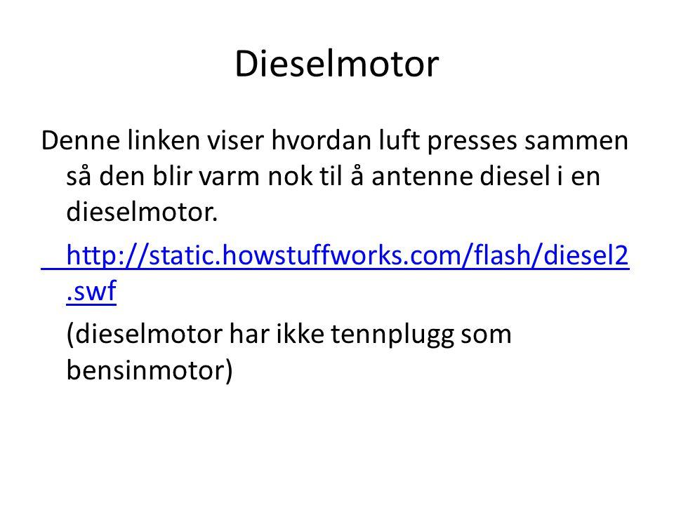 Dieselmotor Denne linken viser hvordan luft presses sammen så den blir varm nok til å antenne diesel i en dieselmotor. http://static.howstuffworks.com