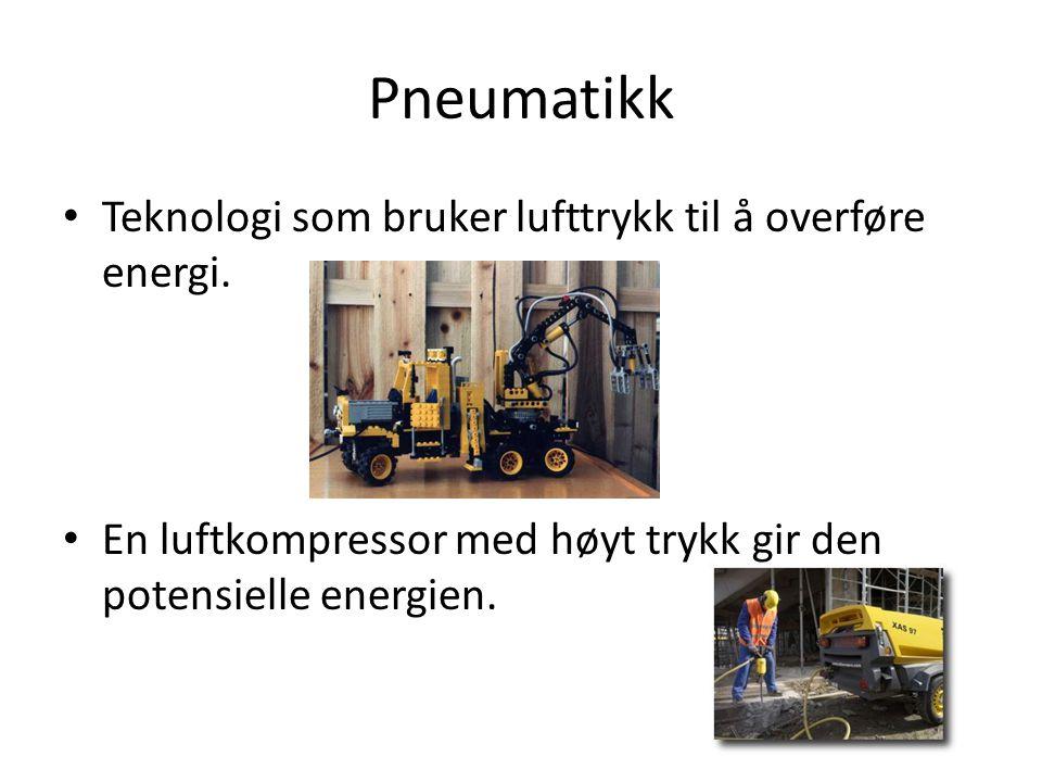 Pneumatikk • Teknologi som bruker lufttrykk til å overføre energi. • En luftkompressor med høyt trykk gir den potensielle energien.