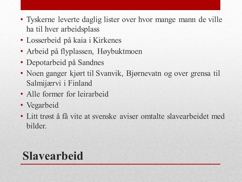 Slavearbeid • Tyskerne leverte daglig lister over hvor mange mann de ville ha til hver arbeidsplass • Losserbeid på kaia i Kirkenes • Arbeid på flypla