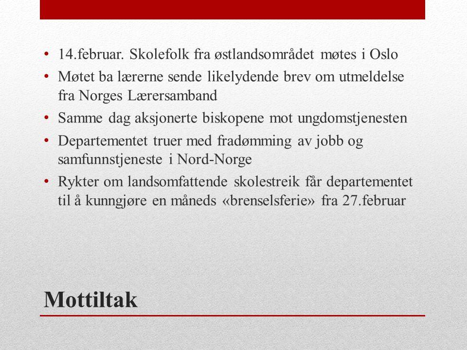 Mottiltak • 14.februar. Skolefolk fra østlandsområdet møtes i Oslo • Møtet ba lærerne sende likelydende brev om utmeldelse fra Norges Lærersamband • S