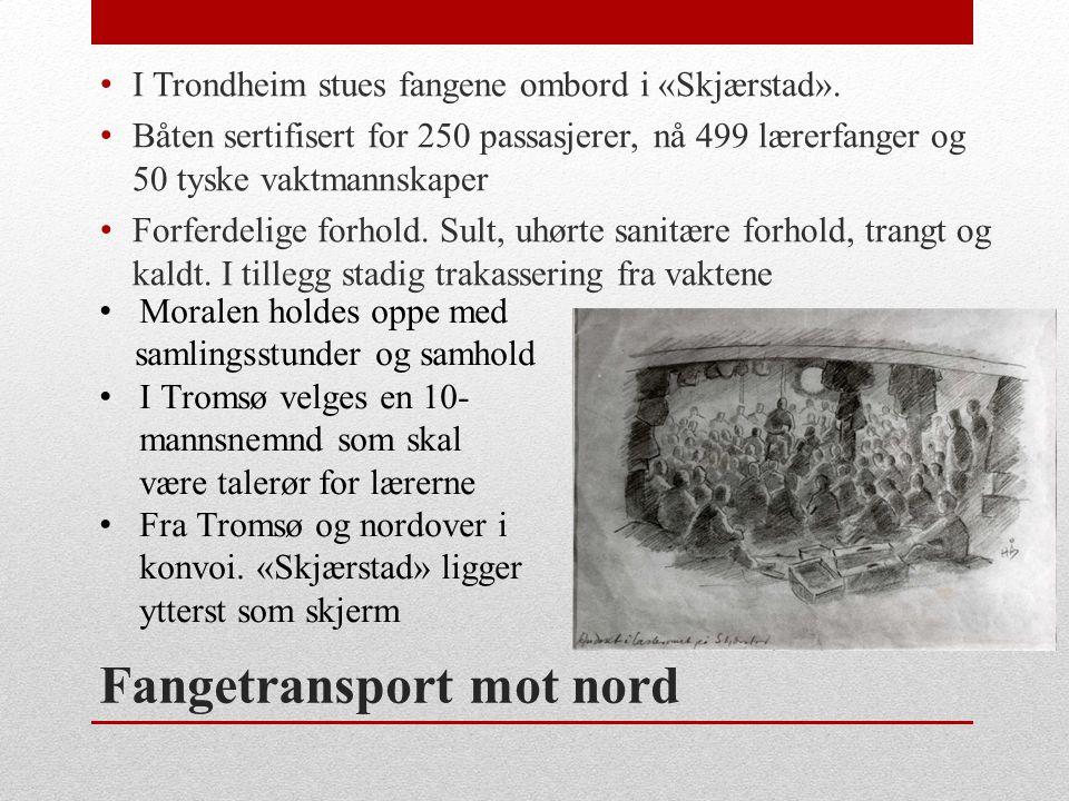 Fangetransport mot nord • I Trondheim stues fangene ombord i «Skjærstad». • Båten sertifisert for 250 passasjerer, nå 499 lærerfanger og 50 tyske vakt