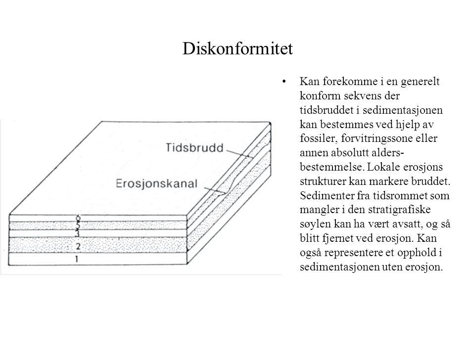 Diskonformitet •Kan forekomme i en generelt konform sekvens der tidsbruddet i sedimentasjonen kan bestemmes ved hjelp av fossiler, forvitringssone ell
