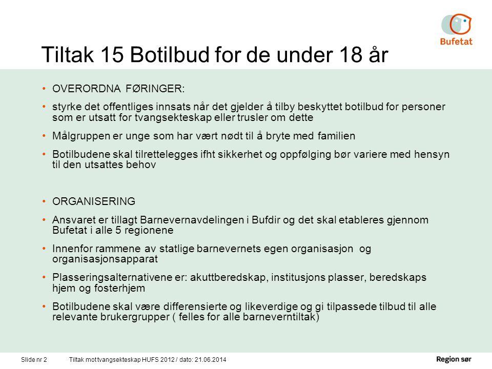 Slide nr 2Tiltak mot tvangsekteskap HUFS 2012 / dato: 21.06.2014 Tiltak 15 Botilbud for de under 18 år •OVERORDNA FØRINGER: •styrke det offentliges in